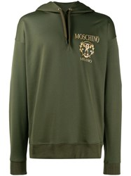 Moschino Floral Question Mark Hooded Sweater Green