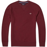 Fred Perry Loopback Crew Sweat Burgundy