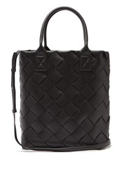 Bottega Veneta Intrecciato Woven Leather Tote Black