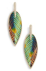 Vince Camuto Inlaid Leather Statement Earrings Gold