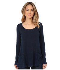 Miraclebody Jeans Two Pocket Thermal Tunic W Body Shaping Inner Shell Indigo Blue Women's Long Sleeve Pullover