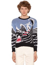 Thom Browne Surfer And Shark Jacquard Cotton Sweater