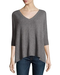Minnie Rose Cashmere 3 4 Sleeve V Neck Sweater Gray Flannel