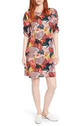 Halogen Ruched Sleeve Crepe Dress Coral Fragment Floral