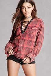 Forever 21 Trendy And Tipsy Faded Plaid Shirt Pink Red