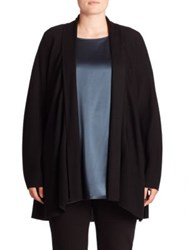 Eileen Fisher Merino Wool Open Front Cardigan Black Fir