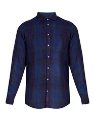 Massimo Alba Canary Checked Linen Shirt Blue