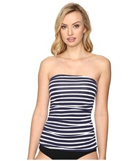 Tommy Bahama Breton Stripe Shirred Bandini Mare Navy White Women's Swimwear Gray