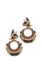 Erickson Beamon Imitation Pearl Safari Hoop Earrings Multi