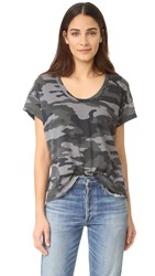 Current Elliott The Slouchy Scoop Tee Distressed Black Camo