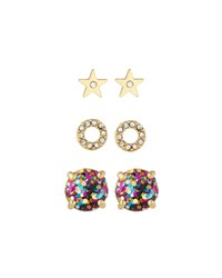 3 Piece Crystal Stud Earrings Set Golden Multi Women's Multi Colors Kate Spade New York