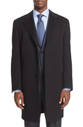 Canali Men's Classic Fit Wool And Cashmere Topcoat Black