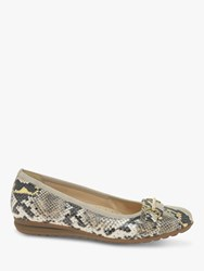 Gabor Salma Wide Fit Leather Gold Trim Loafers Sand