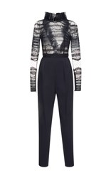 Zuhair Murad Mock Neck Lace Jumpsuit Black