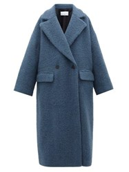 Raey Double Breasted Wool Blend Blanket Coat Blue