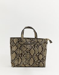 Stradivarius Snake Print Top Handle Bag Multi
