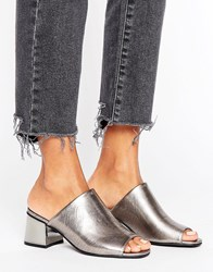 New Look Metallic Block Heeled Mule Gunmetal Pewter Silver