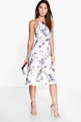 Boohoo Floral Print Strappy Full Skater Dress Grey