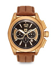 Andrew Marc New York Chronograph Dial Stainless Steel And Leather Watch Brown Gold