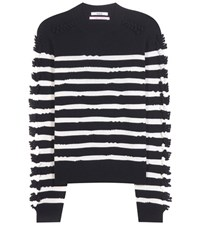 Barrie Striped Cashmere Sweater Blue