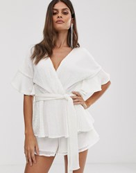 Lavish Alice Sequin Embellished Tiered Playsuit In White