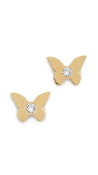 Kate Spade Dainty Sparklers Butterfly Stud Earrings Gold Clear