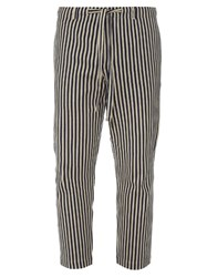 Tomorrowland Drawstring Waist Cotton Piqu Striped Trousers
