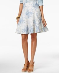 American Living Floral Printed A Line Skirt Only At Macy's White Blue