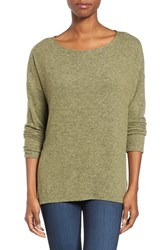 Gibson Women's Cozy Fleece Ballet Neck High Low Pullover Heather Olive