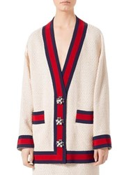 Gucci Long Sleeve Tweed Cardigan Ivory Multi