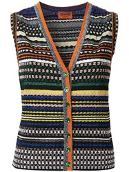 Missoni Striped V Neck Buttoned Tank