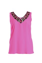 Samya Beaded V Neck Top Pink