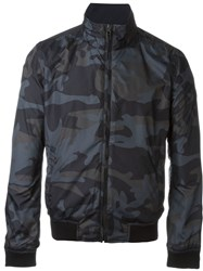Woolrich Camouflage Reversible Bomber Jacket Blue