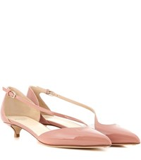 Francesco Russo Patent Leather Kitten Heel Pumps Pink