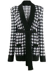 Balmain Houndstooth Knit Cardigan Black