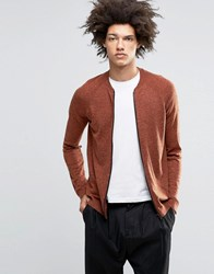Asos Knitted Bomber In Merino Wool Mix Zinfadel And Furnace Orange