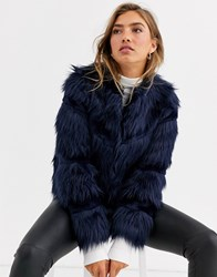 Urbancode Faux Fur Mix Coat In Navy