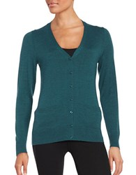 Lord And Taylor Petite Merino Wool Button Front Cardigan Teal Heather