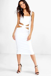 Boohoo Square Neck Cut Out Middle Bodycon Dress Ivory