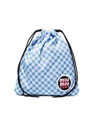 Miu Miu Club Patch Gingham Pouch Blue