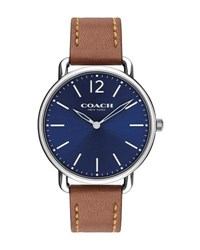 Coach 40Mm Delancey Slim Leather Watch Saddle