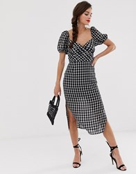 Finders Keepers Picnic Check Midi Dress Black