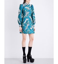 Marc Jacobs Mandarin Collar Brocade Dress Turquoise