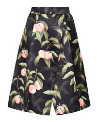 Ted Baker Alessio Peach Blossom Wrap Midi Skirt Black