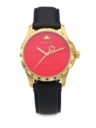 Gucci Le Marche Des Merveilles Synthetic Coral Goldtone Pvd And Leather Strap Watch Red
