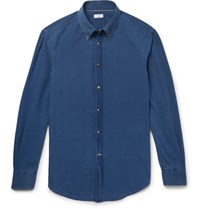 Brunello Cucinelli Slim Fit Button Down Collar Washed Chambray Shirt Blue