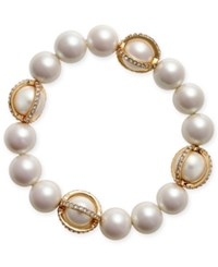 Charter Club Gold Tone Imitation Pearl Pave Stretch Bracelet Only At Macy's