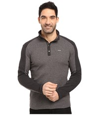 Calvin Klein Long Sleeve Quarter Button Color Blocked Knit Shirt Gunmetal Heather Men's Clothing Gray