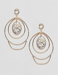 Asos Design Earrings In Abstract Twist Wire Design And Large Stone Detail In Gold