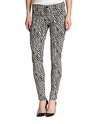 J Brand Printed Jacquard Super Skinny Jeans Abstract Zebra